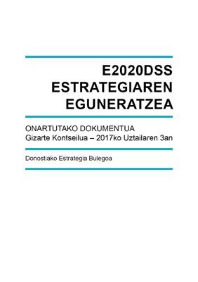 Actualisation du E2020DSS Plan Stratégique de Donostia/Saint-Sébastien. Basque version.